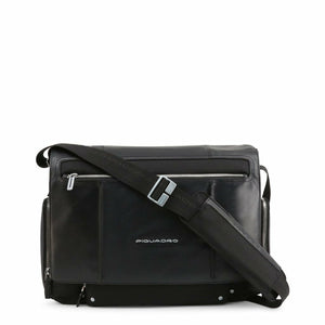 Black Leather Briefcase with Magnetic Fastening and Shoulder Strap
