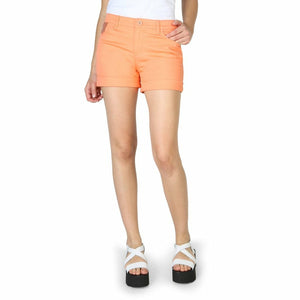 Orange Cotton Shorts with Buttons and Zip