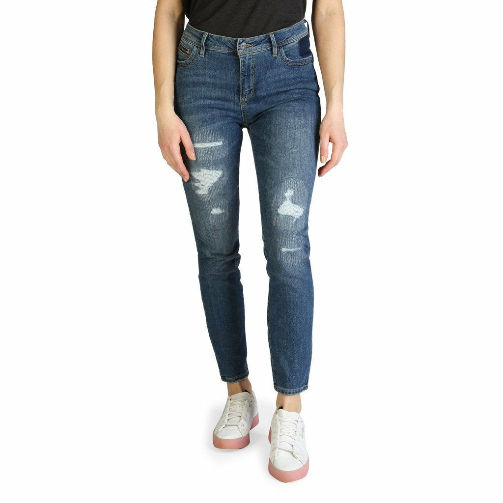 Blue Cotton Jeans with Front and Back Pockets