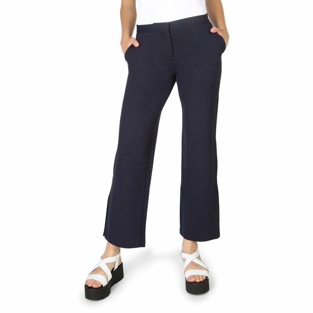 Blue Viscose Polyamide Trousers with Buttons and Zip Fastening