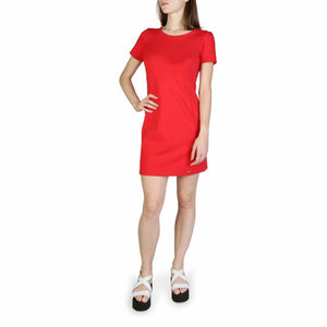 Red Viscose Short Sleeves Dress with Plain Pattern