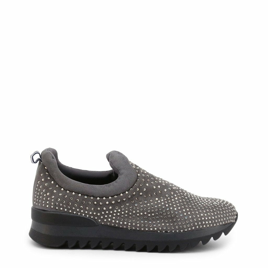 Gray Slip on Sneakers with Crystals