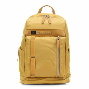 Yellow Leather Fabric Zip Fastening Rucksack