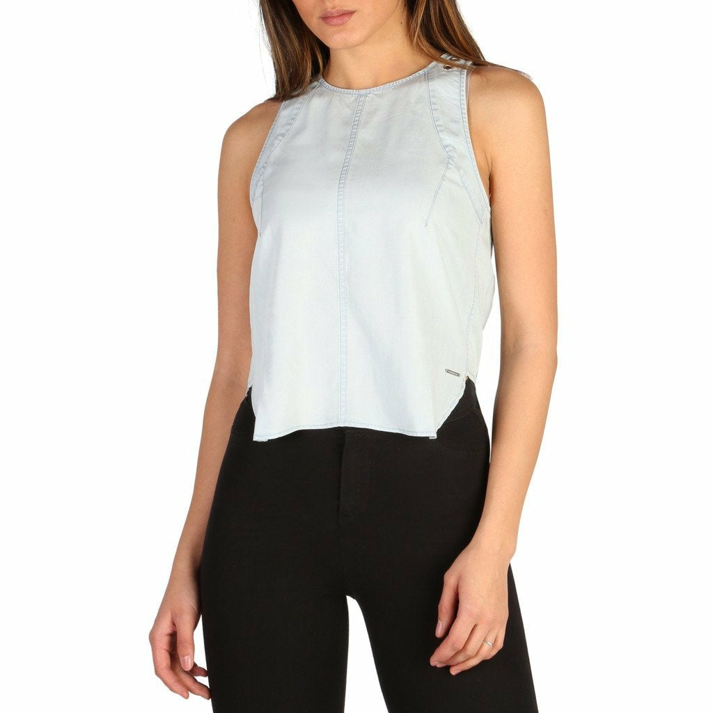 Blue Sleeveless Top with Back Zip Fastening