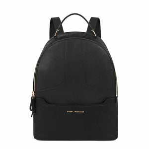 Black Leather Fabric Zip Fastening Rucksack