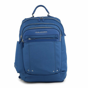 Blue Leather Backpack with Visible Logo