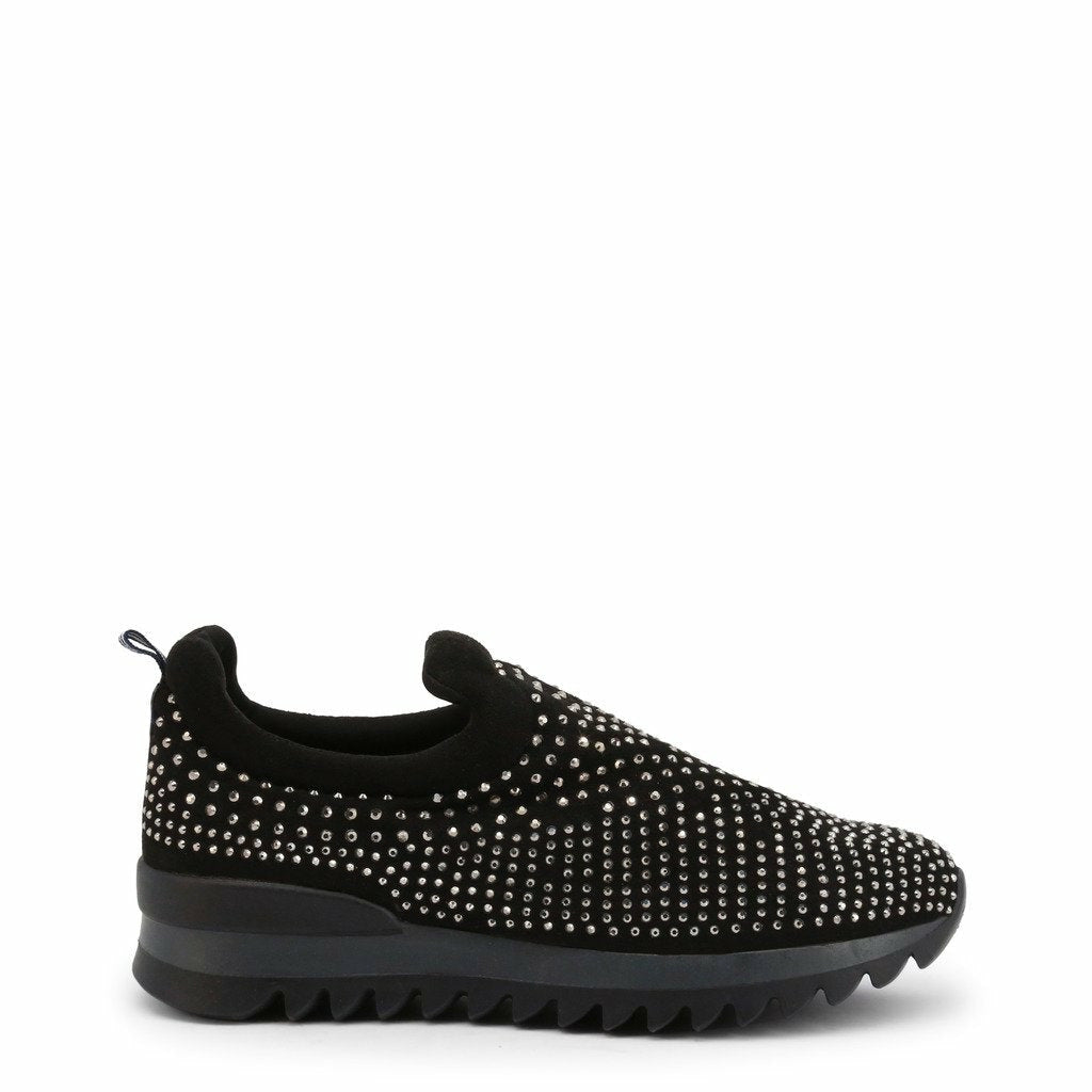Black Slip on Sneakers with Crystals