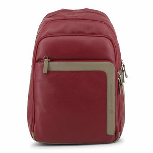 Red Leather Backpack with Trolley Fitting Strap