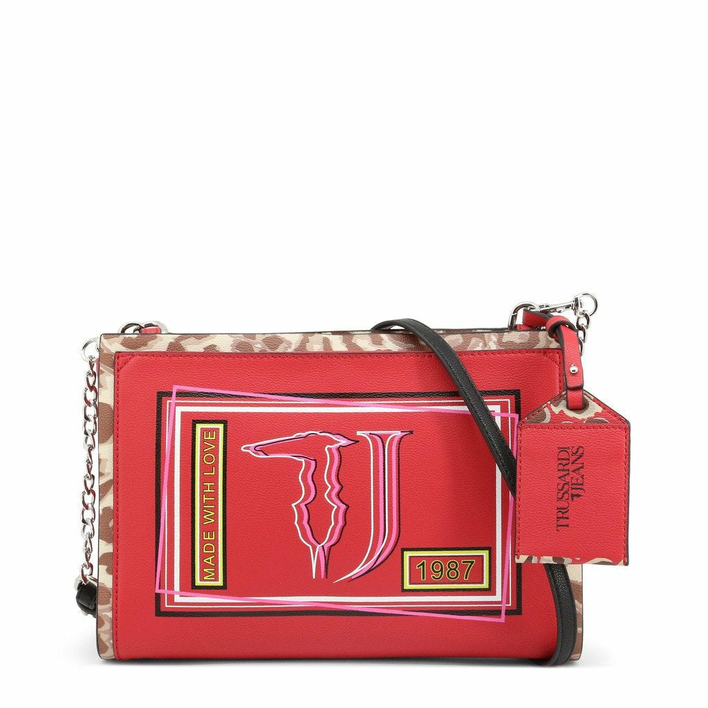 Red zip fastened clutch bag with removale shoulder strap and logo details