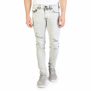 Grey Cotton Jeans with Front and Back Pockets