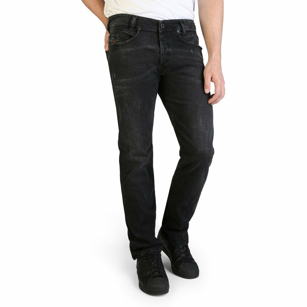 Black Cotton Jeans with Front and Back Pockets
