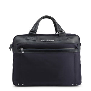 Blue Leather Briefcase with Shoulder Strap and Visible Logo