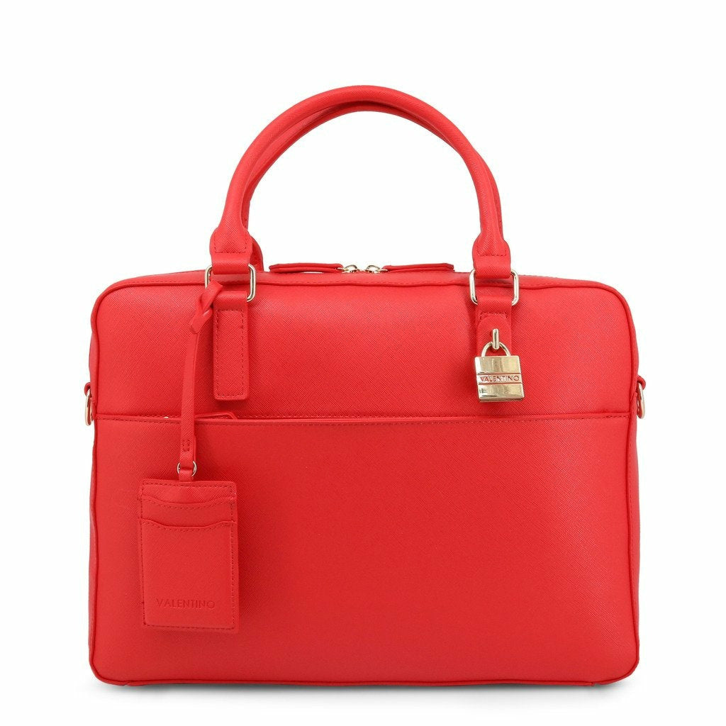 Red Briefcase with Plain Pattern and Zip Fastening