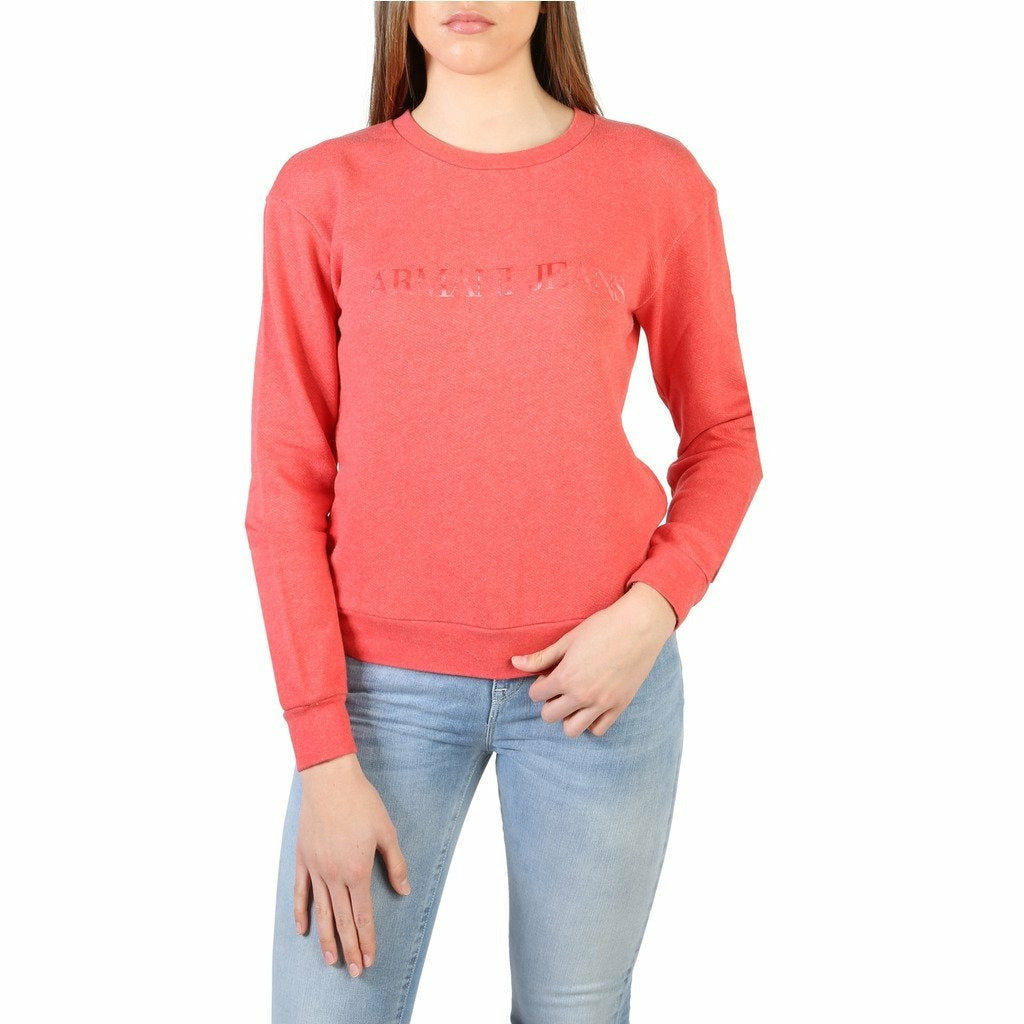 Red Cotton Sweatshirt with Round Neckline and Print Pattern