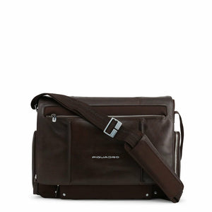 Brown Leather Briefcase with Magnetic Fastening and Shoulder Strap