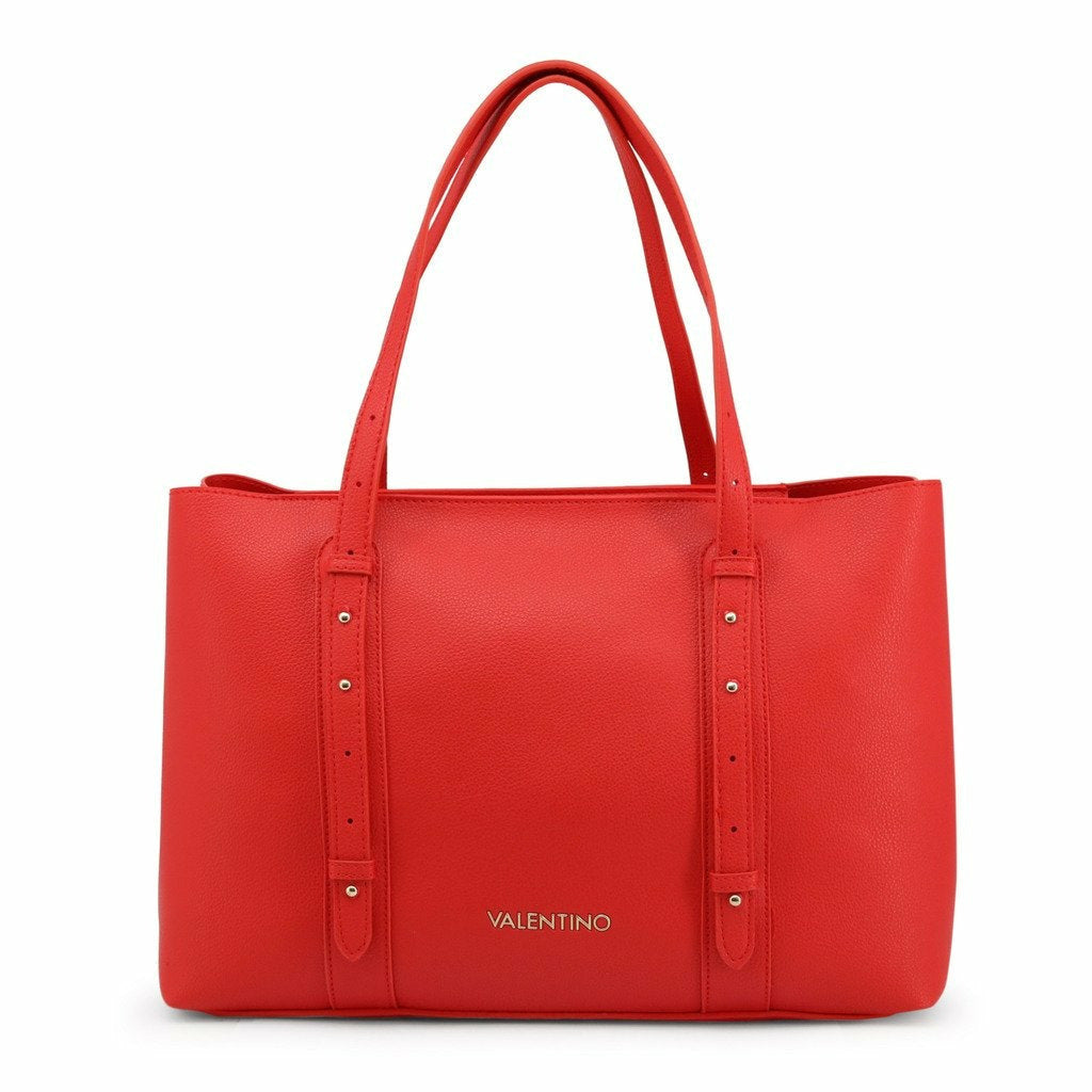 Red Handbag with Zip Fastening and Two Handles