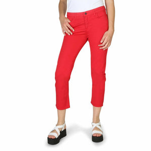 Red Cotton Trousers with Buttons and Zip Fastening