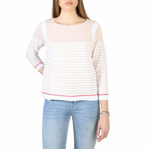 Pink and White Cotton Sweater with Boat Neckline