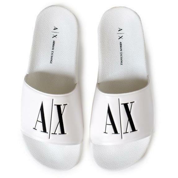 White Flip Flops with Logo Details