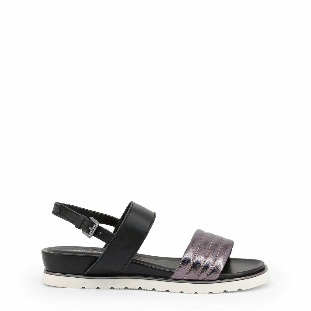 Gray Leather Sandals