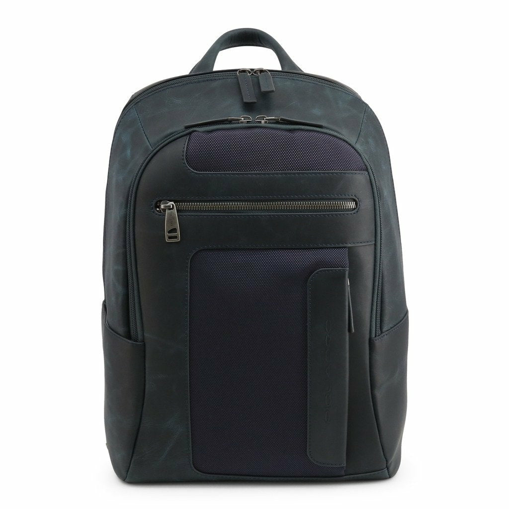 Blue Leather Backpack with Trolley Fitting Strap