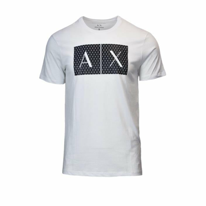 White Cotton T-Shirt with Print Pattern