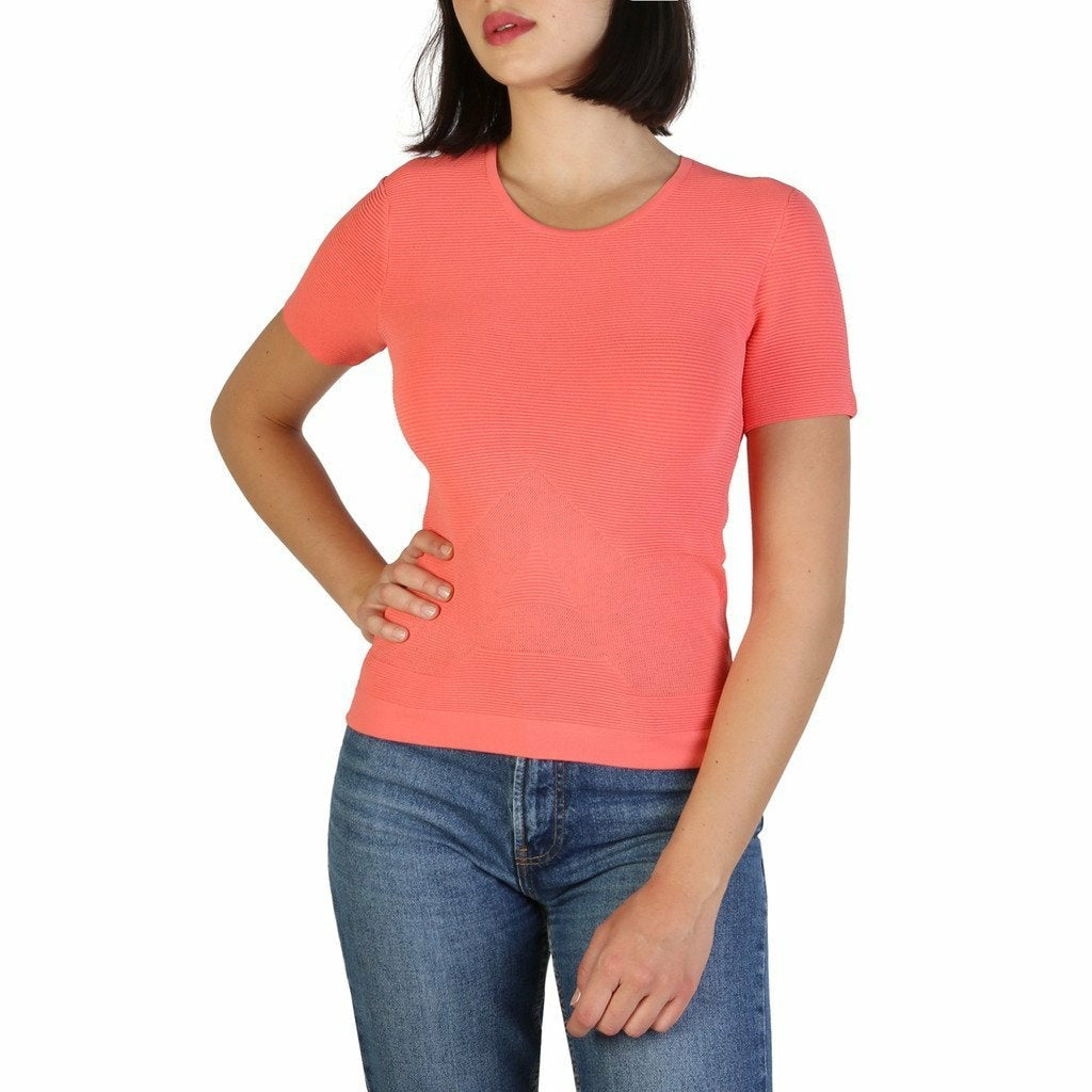 Pink Viscose and Polyamide Plain Pattern T-Shirt