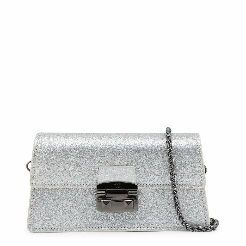 Grey clip fastened clutch bag with removale shoulder strap and logo details