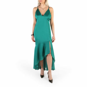 Green Sleeveless Dress with Plain Pattern