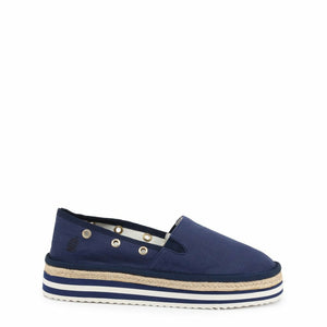 Blue Fabric Slip on Sneakers