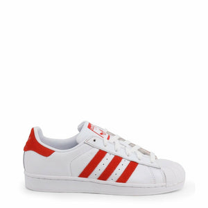 White and Red Adidas Superstar Sneakers