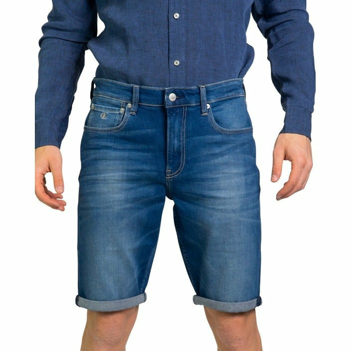 Blue Cotton Shorts with Zip and Button Fastening and Plain Pattern