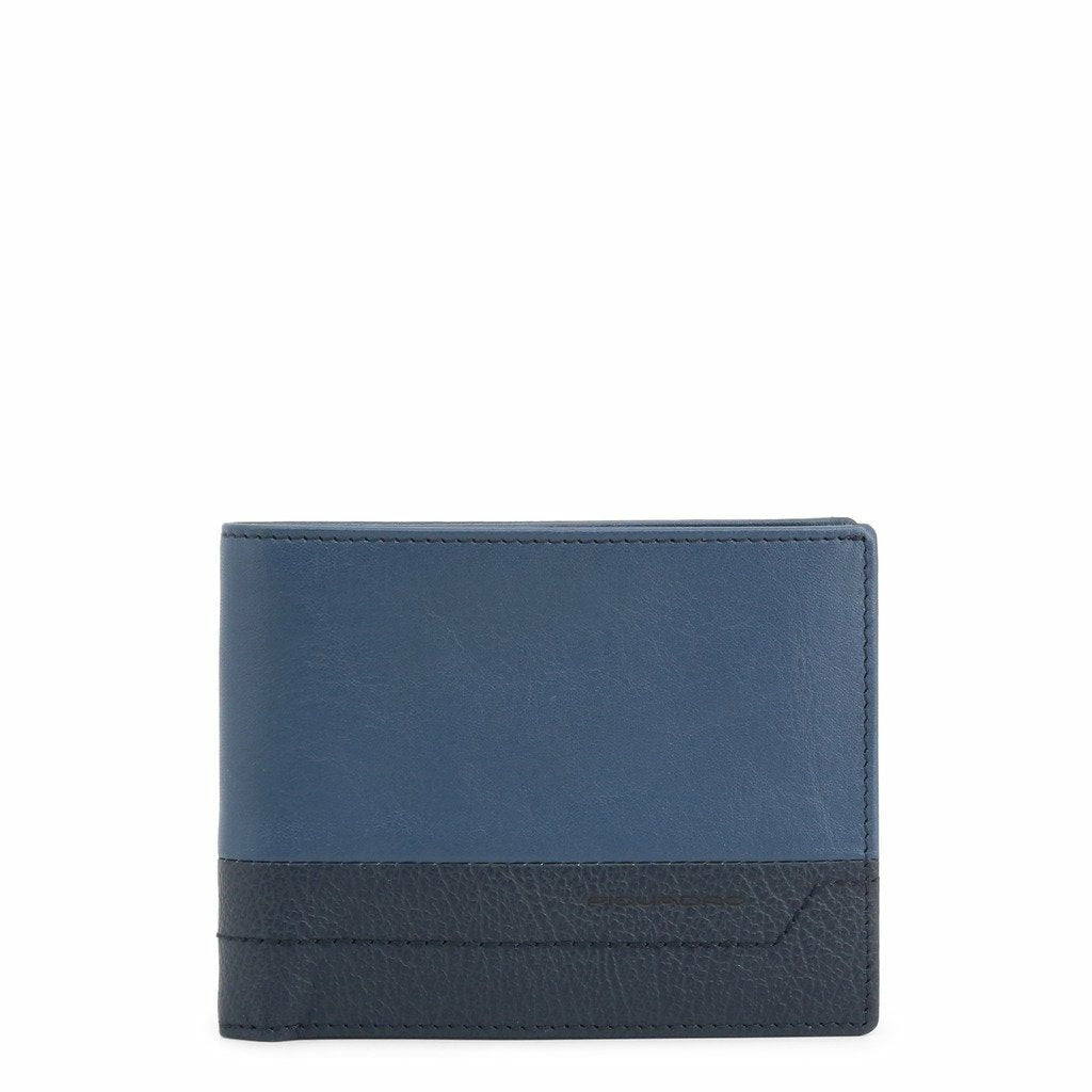 Blue Leather Wallet with Visible Logo