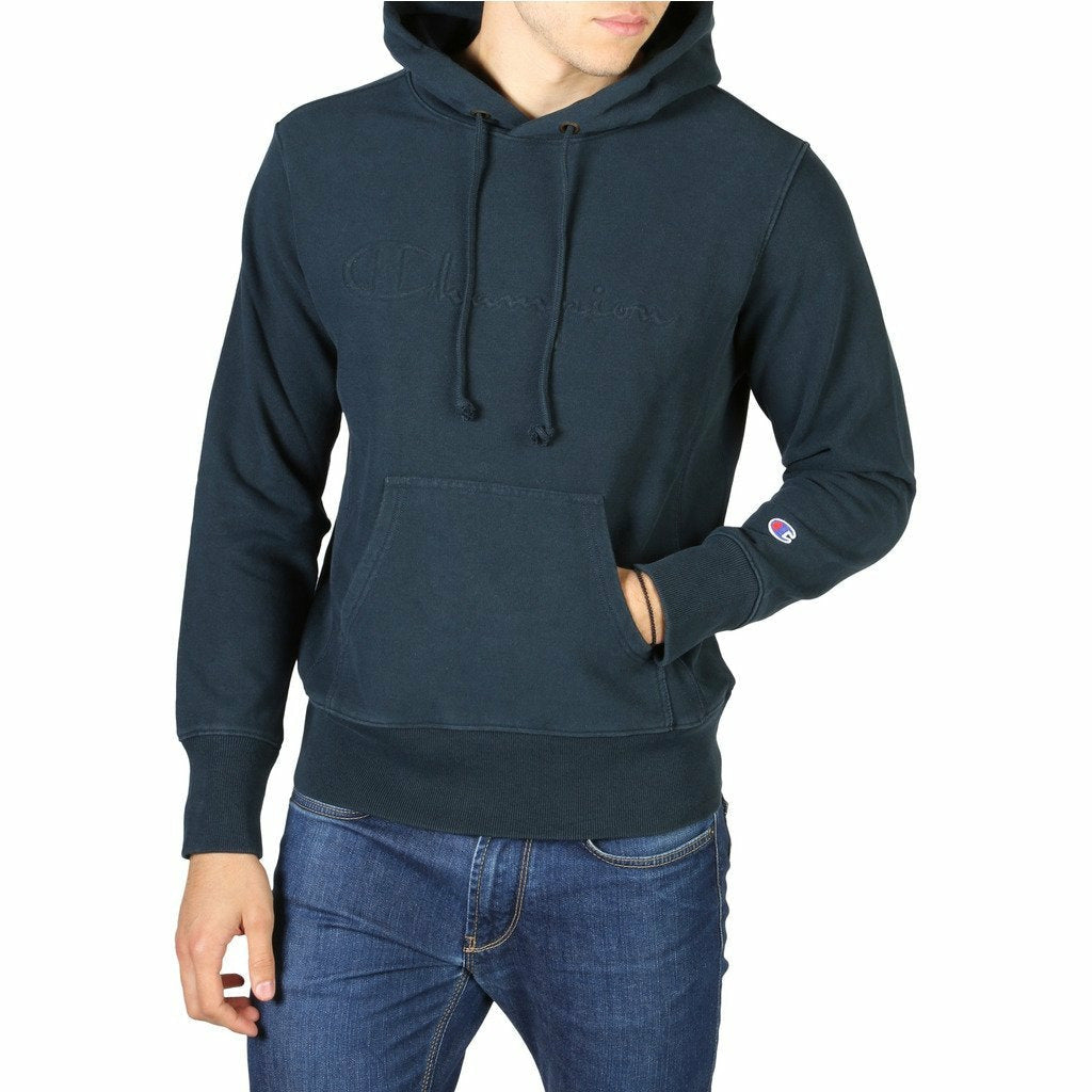 Blue Cotton Fixed Hood Solid Color Pattern Sweatshirt