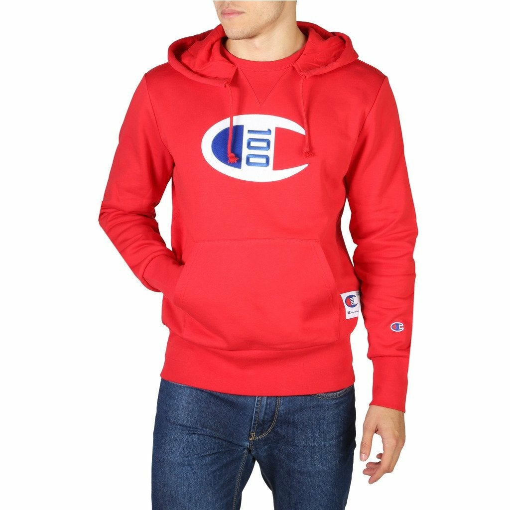 Red Cotton Fixed Hood Print Pattern Sweatshirt