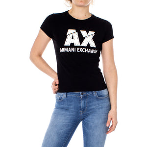 Black Cotton T-Shirt with Round Neckline and Print Pattern