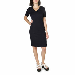 Blue Fibres Short Sleeves Dress with Plain Pattern