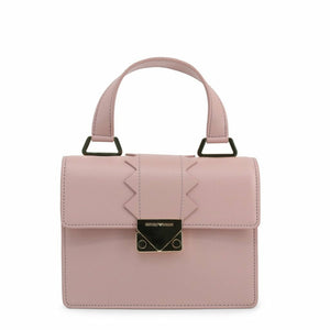 Pink Leather Handbag with Visible Logo
