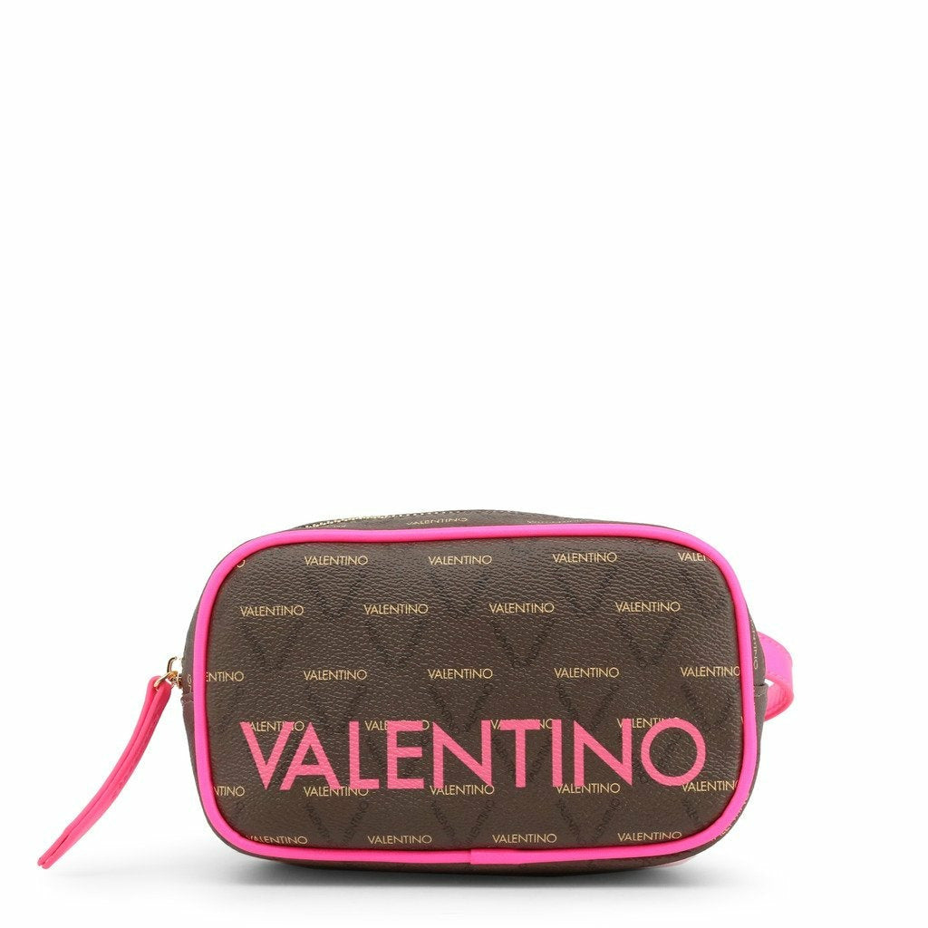 Pink zip fastened clutch bag with two internal pockets