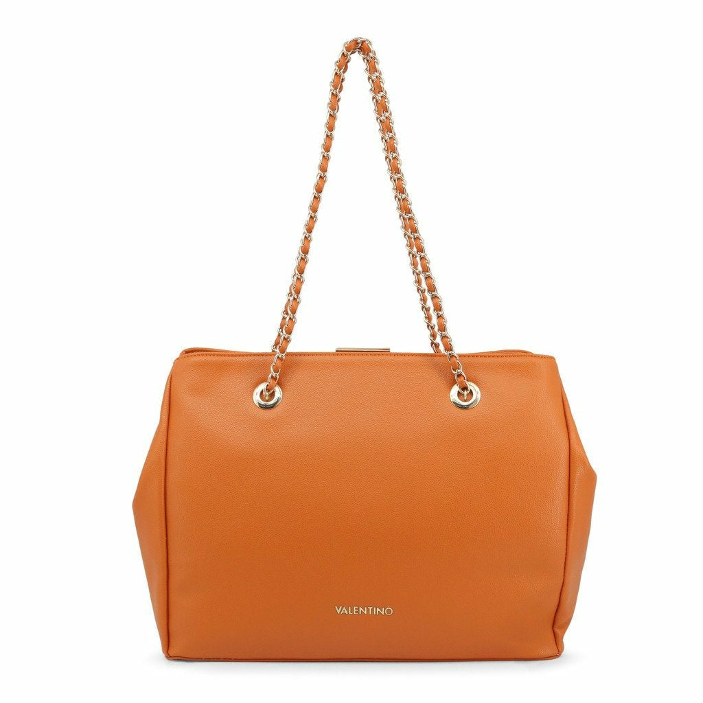 Orange Shoulder Bag with Zip Fastening