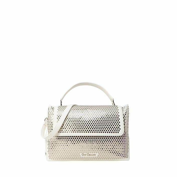 White Zip Fastening Shoulder Bag