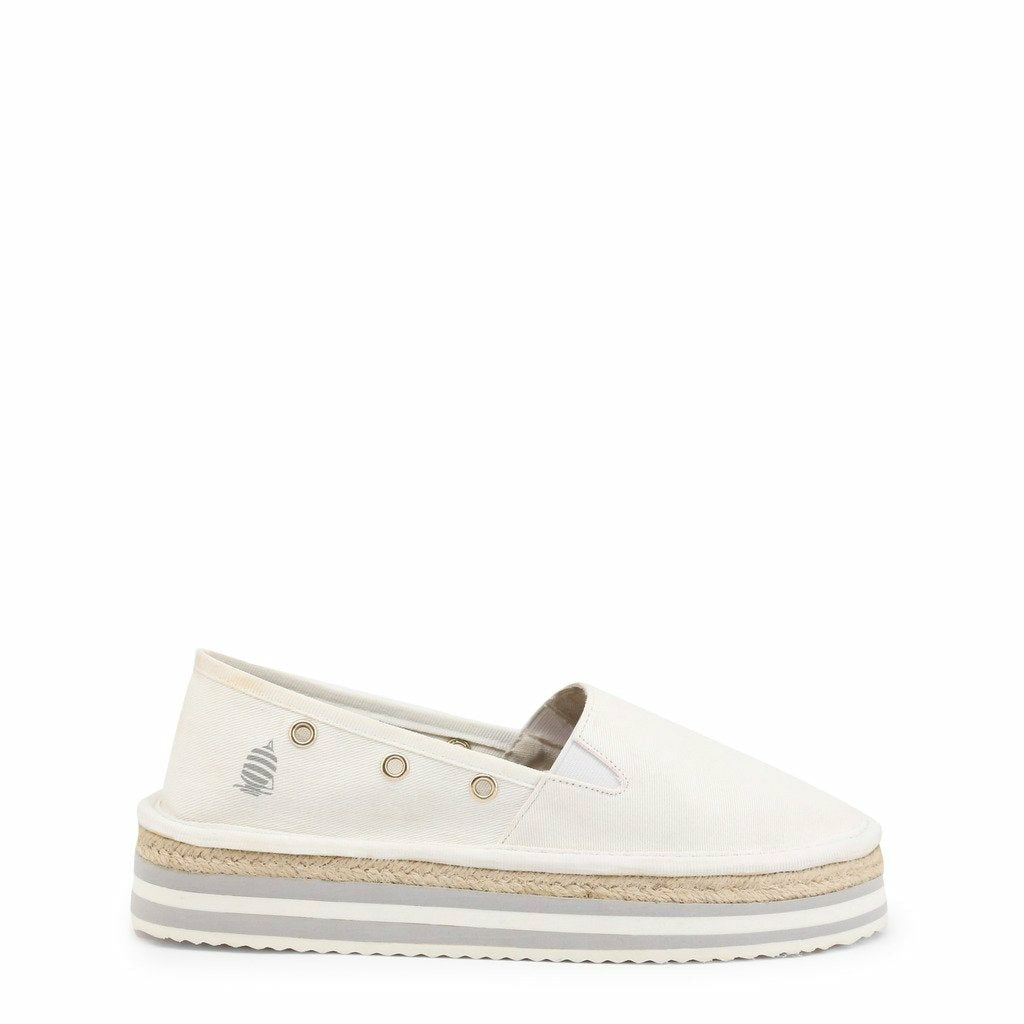 White Fabric Slip on Sneakers