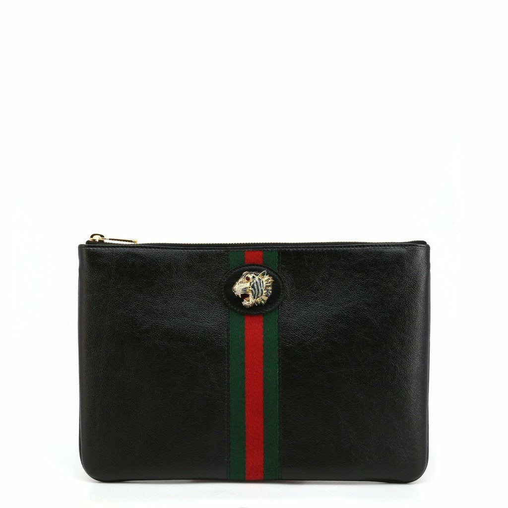 Black Leather clutch bag with zip fastening and one compartment