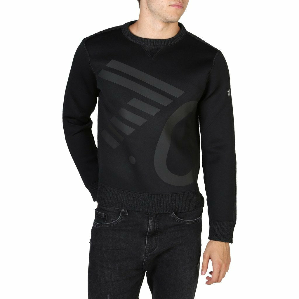 Black long sleeved sweater with round neckline and logo details