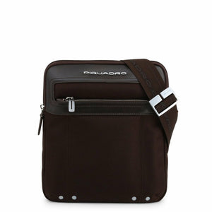 Brown Leather Bag with Shoulder Strap and Visible Logo