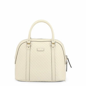 White Leather Handbag with Three Internal Pockets