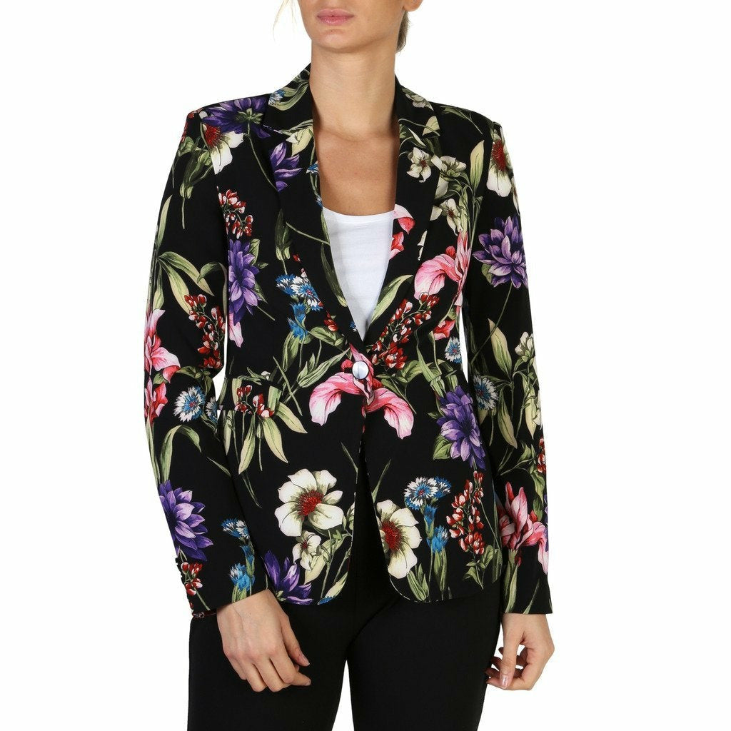 Black Button Fastened Formal Jacket with Floral Pattern
