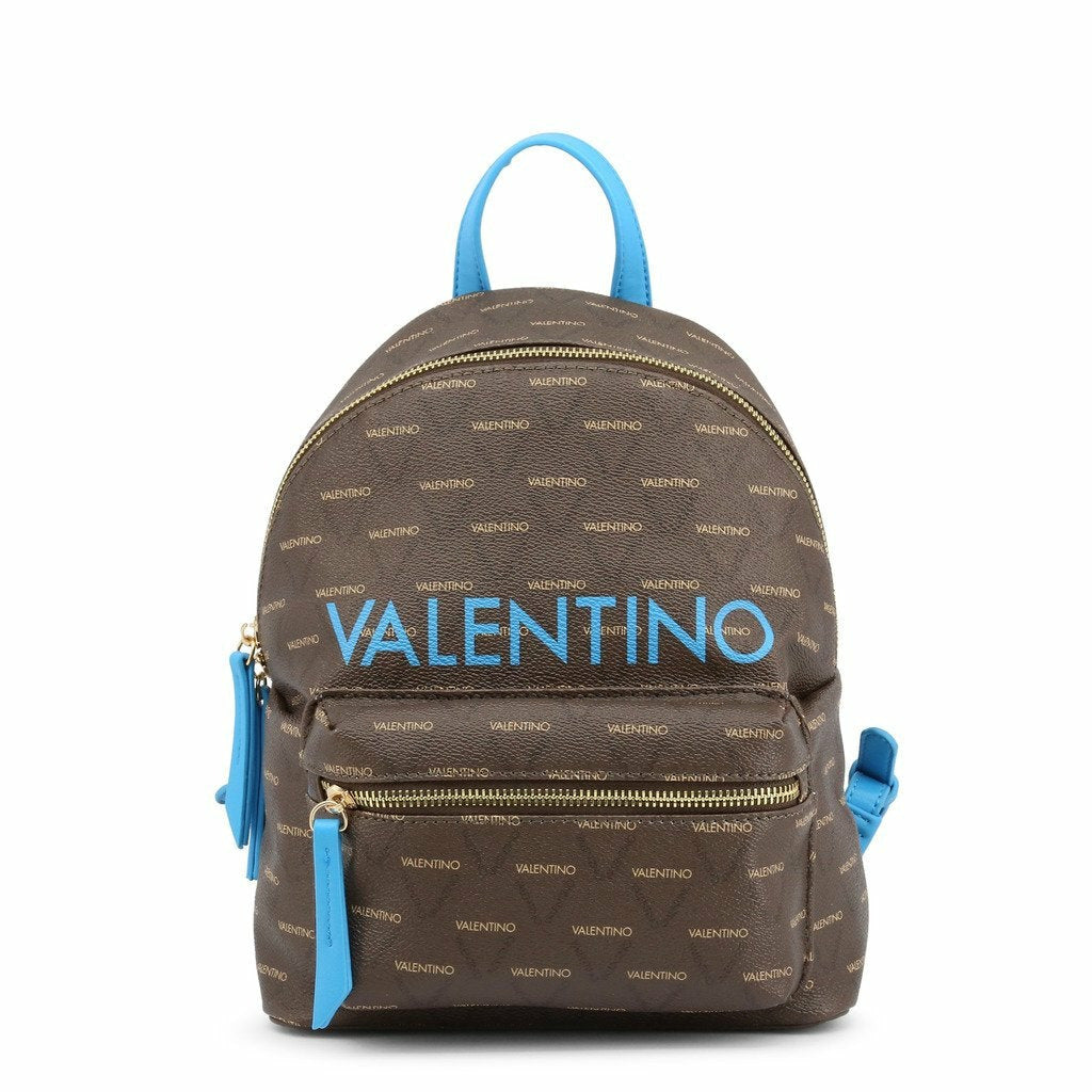 Brown and Blue Zip Fastening Rucksack