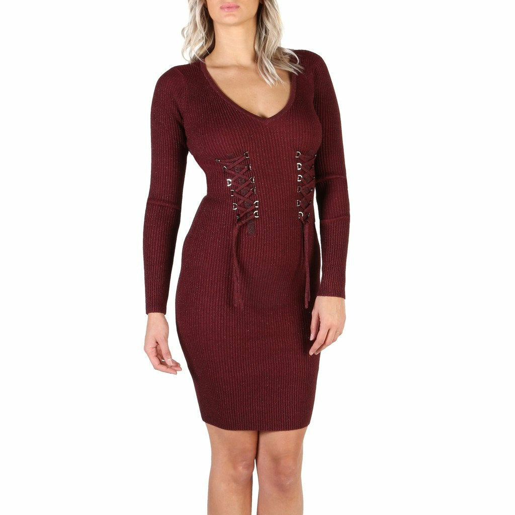 Red Viscose Long Sleeve Dress with Plain Pattern