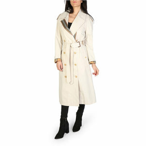 White Cotton Trench Coat with Buttons and Belt Fastening